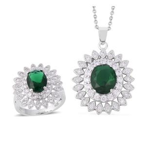 Jewelry - Simulated Emerald, White CZ Ring and Pendant Chain